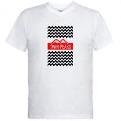 Мужская футболка  с V-образным вырезом Твин Пикс 3