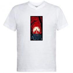 Мужская футболка  с V-образным вырезом Твин Пикс Лес