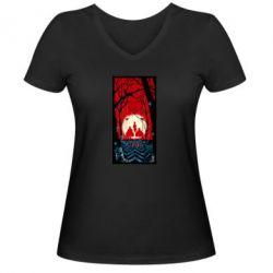 Женская футболка с V-образным вырезом Твин Пикс Лес