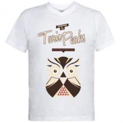 Чоловіча футболка з V-подібним вирізом Твін Пікс сова 2