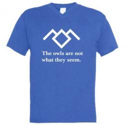Чоловіча футболка з V-подібним вирізом Твін Пікс сови