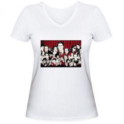 Женская футболка с V-образным вырезом Твин Пикс