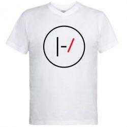 Мужская футболка  с V-образным вырезом Twenty One Pilots Logotype
