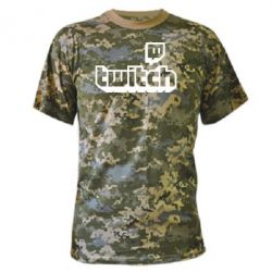 Камуфляжна футболка Twitch logotip