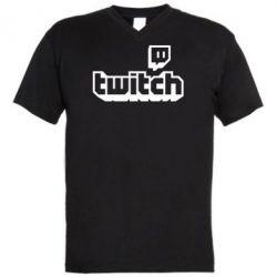 Чоловіча футболка з V-подібним вирізом Twitch logotip