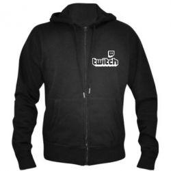 Чоловіча толстовка на блискавці Twitch logotip