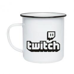Кружка емальована Twitch logotip