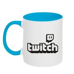 Кружка двоколірна 320ml Twitch logotip