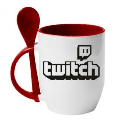 Кружка з керамічною ложкою Twitch logotip