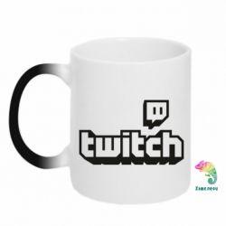 Кружка-хамелеон Twitch logotip