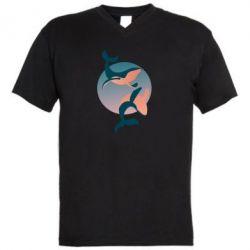 Мужская футболка  с V-образным вырезом Two whales
