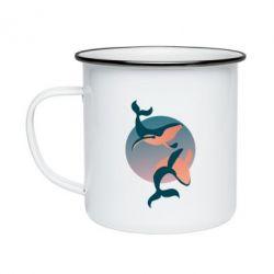 Кружка емальована Two whales