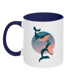 Кружка двухцветная 320ml Two whales