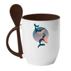 Кружка з керамічною ложкою Two whales
