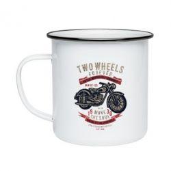 Кружка емальована Two Wheels Forever 1930
