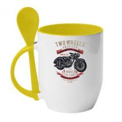 Кружка з керамічною ложкою Two Wheels Forever 1930