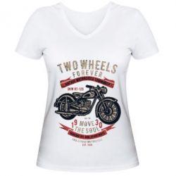 Жіноча футболка з V-подібним вирізом Two Wheels Forever 1930
