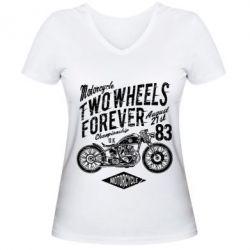 Жіноча футболка з V-подібним вирізом Two Wheels Forever