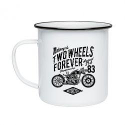 Кружка емальована Two Wheels Forever