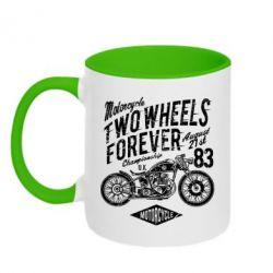 Кружка двоколірна 320ml Two Wheels Forever