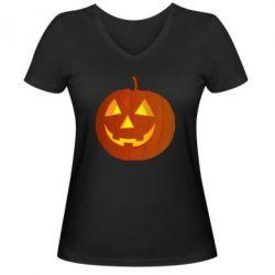 Женская футболка с V-образным вырезом Тыква Halloween - FatLine