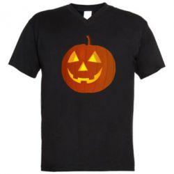 Мужская футболка  с V-образным вырезом Тыква Halloween - FatLine