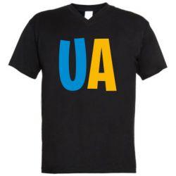 Мужская футболка  с V-образным вырезом UA Blue and yellow