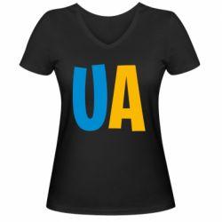 Женская футболка с V-образным вырезом UA Blue and yellow
