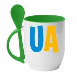Кружка с керамической ложкой UA Blue and yellow