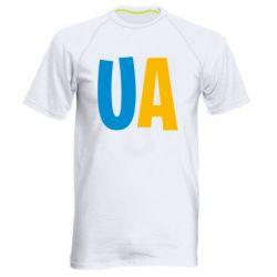 Мужская спортивная футболка UA Blue and yellow