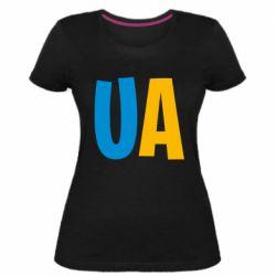 Женская стрейчевая футболка UA Blue and yellow