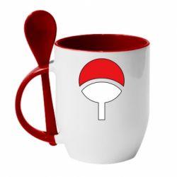 Кружка с керамической ложкой Uchiha symbol
