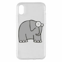 Чехол для iPhone X удивленный слон - FatLine