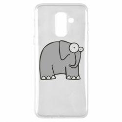 Чехол для Samsung A6+ 2018 удивленный слон - FatLine