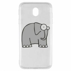 Чехол для Samsung J7 2017 удивленный слон - FatLine