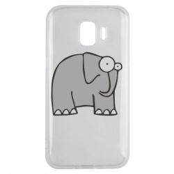 Чехол для Samsung J2 2018 удивленный слон - FatLine
