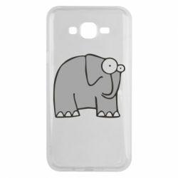 Чехол для Samsung J7 2015 удивленный слон - FatLine