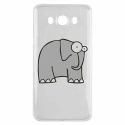 Чехол для Samsung J7 2016 удивленный слон - FatLine