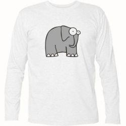 Футболка с длинным рукавом удивленный слон - FatLine
