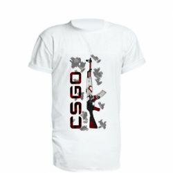 Удлиненная футболка CSGO and gun