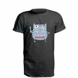 Удлиненная футболка Cute cat and text