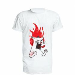 Подовжена футболка The cat is mad