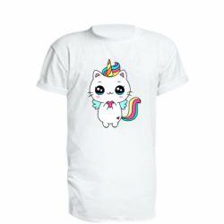 Подовжена футболка The cat is unicorn