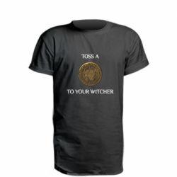 Подовжена футболка Toss a coin to your witcher ( орен )