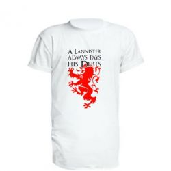 Удлиненная футболка A Lannister always pays his debts - FatLine
