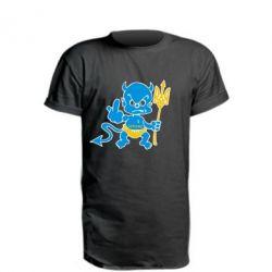 Подовжена футболка Чортик з тризубом