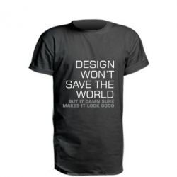 Удлиненная футболка Design won't save the world