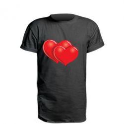 Удлиненная футболка Два сердца