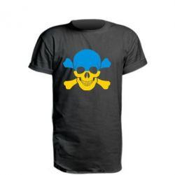 Удлиненная футболка Двокольоровий череп - FatLine