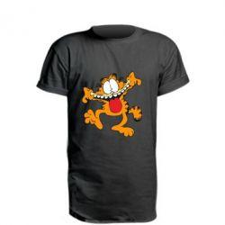 Удлиненная футболка Гарфилд кривляка - FatLine